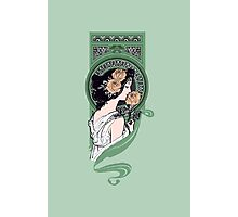 Art nouveau girl with roses Photographic Print