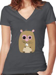 Cartoon Hamster Women's Fitted V-Neck T-Shirt