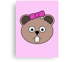 Cartoon Girl Beaver Face Canvas Print