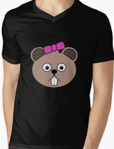 Cartoon Girl Beaver Face Mens V-Neck T-Shirt