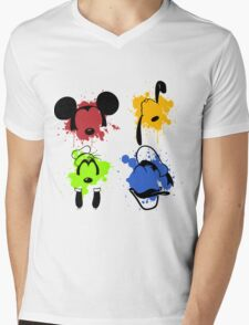 Mickey and Friends Splash Mens V-Neck T-Shirt