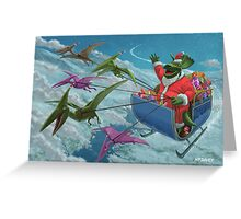 christmas dinosaur santa ride Greeting Card
