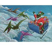 christmas dinosaur santa ride Photographic Print