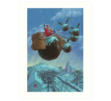 christmas pudding santa ride Art Print