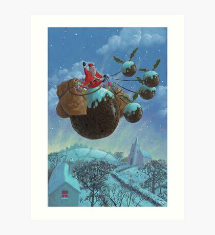 christmas pudding santa ride Art Print