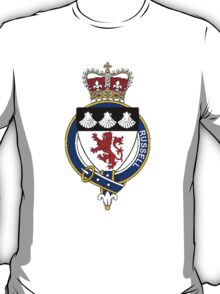 Coat of arms (family crest) for last-name or surname Russell (England) . Heraldry banner for your name. T-Shirt