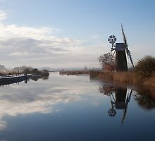 Turf Fen Mill on the River Ant, Broadland, Norfolk by Sarah Weston