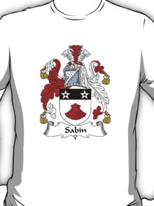 Coat of arms (family crest) for last-name or surname Sabin (e) . Heraldry banner for your name. T-Shirt