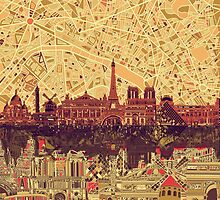 paris skyline abstract 3 by BekimART
