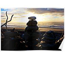 Rock Cairns - Gillespie's Beach Poster