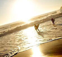 Surfers at sunrise - Manly Beach Sydney by victoria  tansley