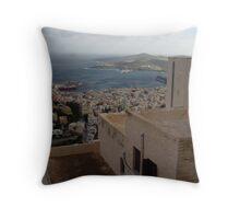 Syros harbor Throw Pillow