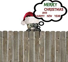 cat on fence wishing merry christmas by toady8