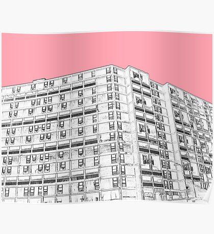 Park Hill Sheffield Pink Poster