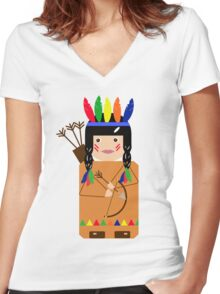Indian Women's Fitted V-Neck T-Shirt
