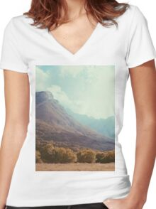 Mountains in the background V Women's Fitted V-Neck T-Shirt
