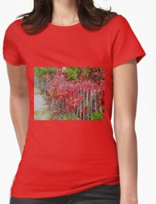 Virginia Creeper on Dune Fence - Fall Colors Womens Fitted T-Shirt