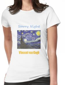 Vincent van Gogh, Starry Night.  Womens Fitted T-Shirt