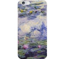 Claude Monet, Waterlily oil on canvas.  Beautiful vintage purple waterlily and big green leaves flowering pond iPhone Case/Skin