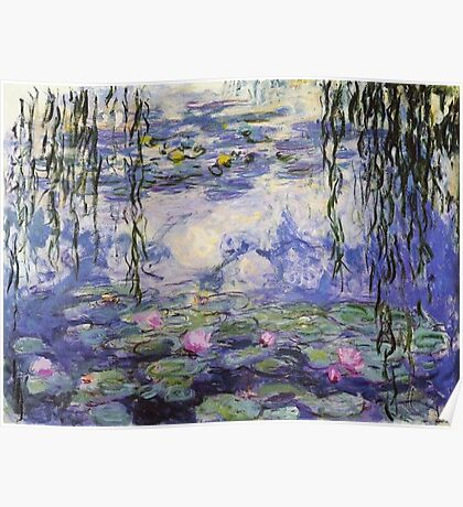 Claude Monet, Waterlily oil on canvas.  Beautiful vintage purple waterlily and big green leaves flowering pond Poster