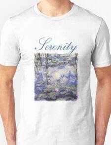 Claude Monet, Waterlily oil on canvas.  Beautiful vintage purple waterlily and big green leaves flowering pond T-Shirt