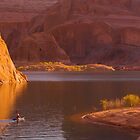 kayak under the cliffs- Lake Powell by David Chesluk