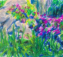 Rock and Flowers (pastel) by Niki Hilsabeck