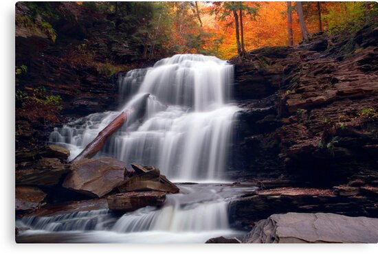 Fading October Daylight at Shawnee Falls by Gene Walls