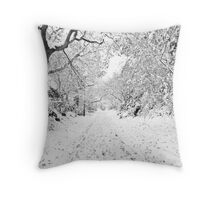 """Footprints in the Snow"" Christmas Card Throw Pillow"