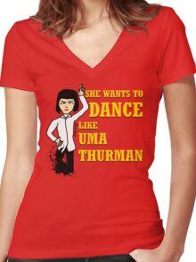 Uma Thurman Women's Fitted V-Neck T-Shirt