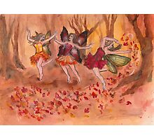 Dancing Fall Fairies Photographic Print