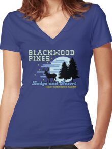 Until Dawn - Blackwood Pines Lodge Women's Fitted V-Neck T-Shirt