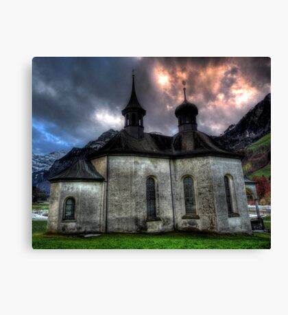 Chapel On The Hill. Canvas Print