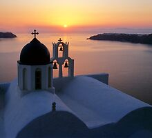 Golden Santorini by Norbert Probst