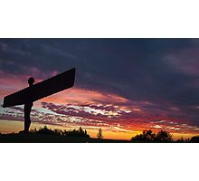 Gateshead Angel with a gorgeous sunset Photographic Print