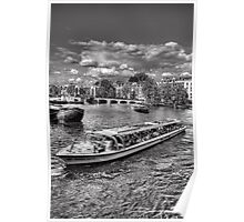 Boat on the River Amstel, in Amsterdam Poster