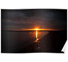 Sunset on West Mersea beach, Essex Poster