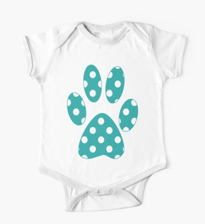 Turquoise Polka Dots One Piece - Short Sleeve