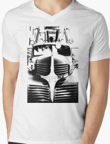 Old Firetruck in Black & White Mens V-Neck T-Shirt