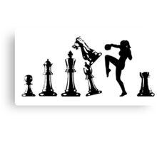 Female Kickboxing Knee Black Chess  Canvas Print