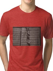 Glasses and Sheet Music, sepia tone photograph Tri-blend T-Shirt