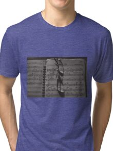 Glasses and Sheet Music, sepia tone photograph Tri-blend T-Shirt