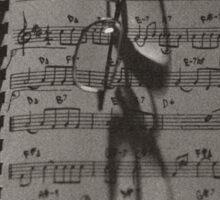 Glasses and Sheet Music, sepia tone photograph Sticker