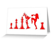 Female Kickboxing Knee Red Chess  Greeting Card