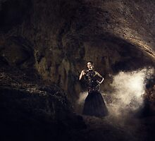 Mystic fantasy girl in a cave by Liancary
