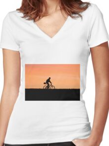 Patrolling The Levee Women's Fitted V-Neck T-Shirt