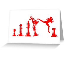 Female Kickboxer Jumping Back Kick Red  Greeting Card
