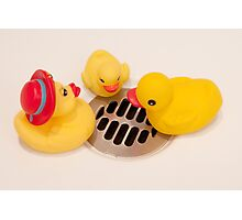 """""""Where Did All The Water Go?"""" - rubber ducks looking for water Photographic Print"""