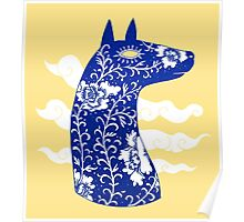 The Water Horse in Blue and White Poster