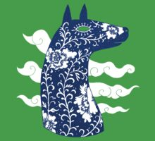 The Water Horse in Blue and White One Piece - Short Sleeve
